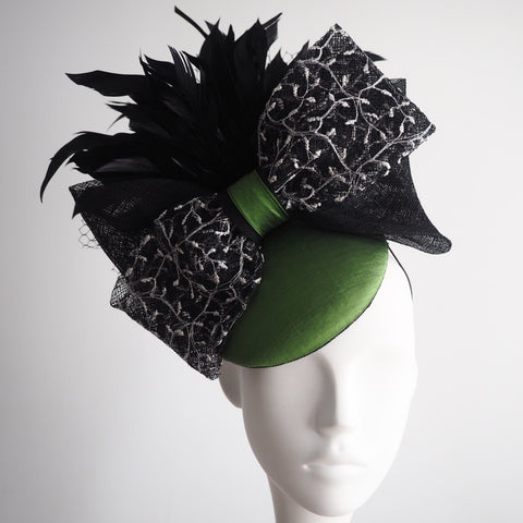 Green silk black feather hat bow