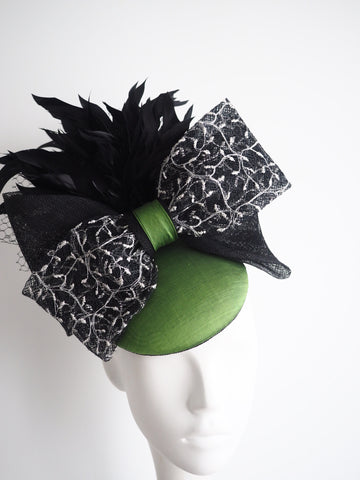 Wedding guest, derby hat black and green