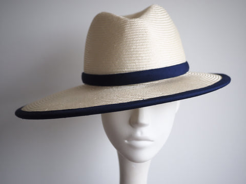 Designer fedora hat Hong Kong with navy trim noeleen millinery