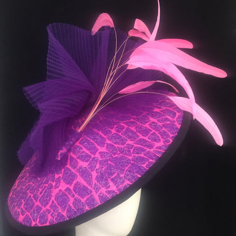 Candytuft - Purple and Pink Saucer hat in printed fabric - NOELEEN MILLINERY HONG KONG