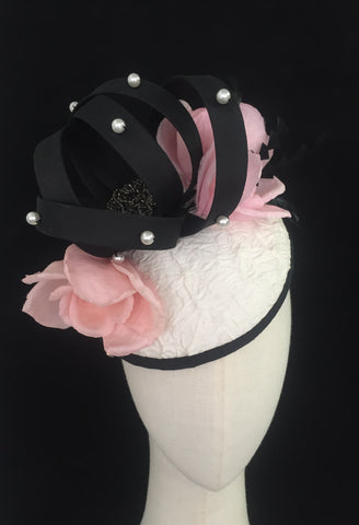 Pearl Oyster - Silk and Pearl headpiece hat for races or wedding - NOELEEN MILLINERY HONG KONG