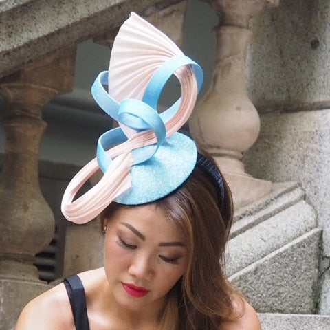 Pink and blue designer special occasion hat
