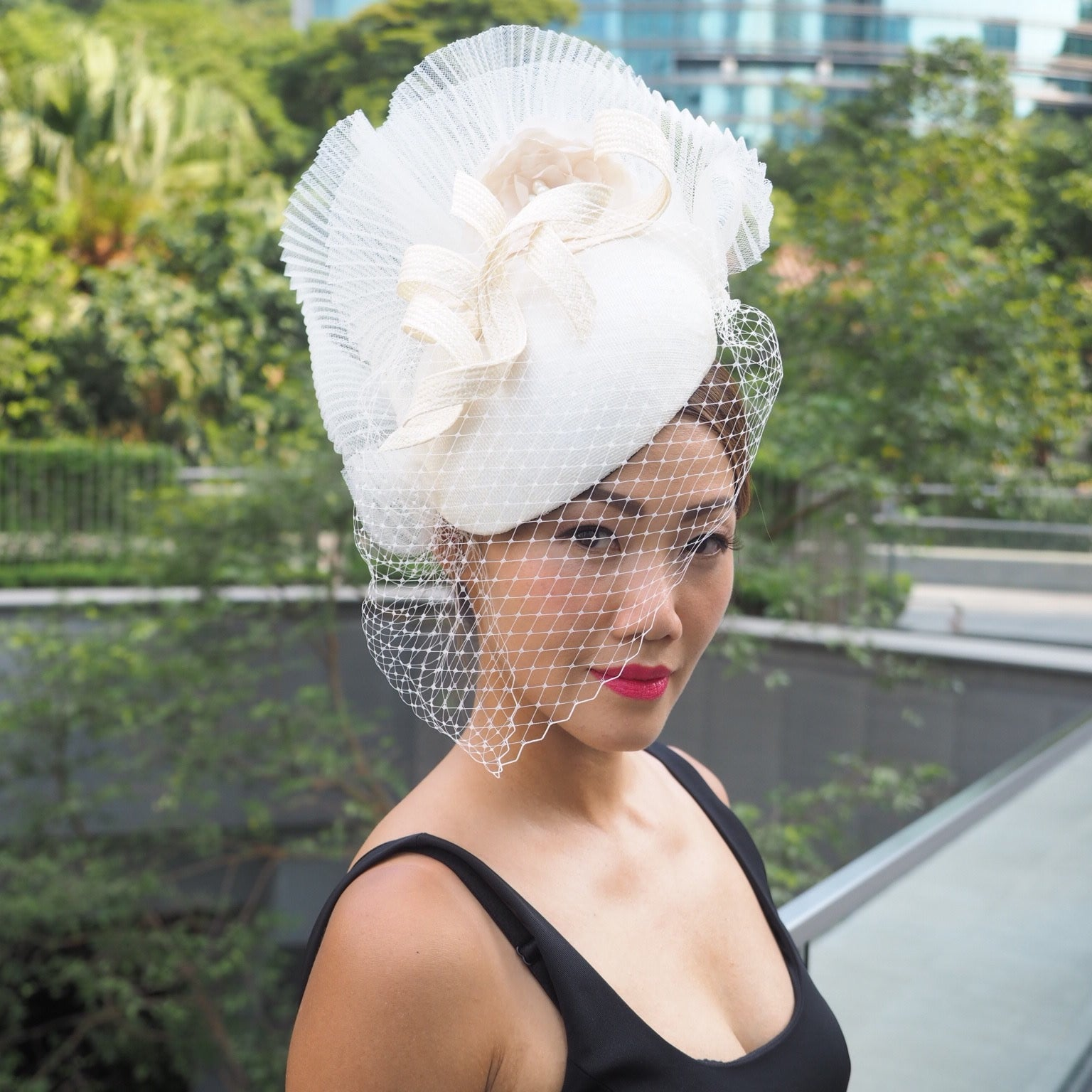 3a542657f96 Cambridge - Elegant Classic Beret Style Hat with Birdcage Veil - NOELEEN  MILLINERY HONG KONG