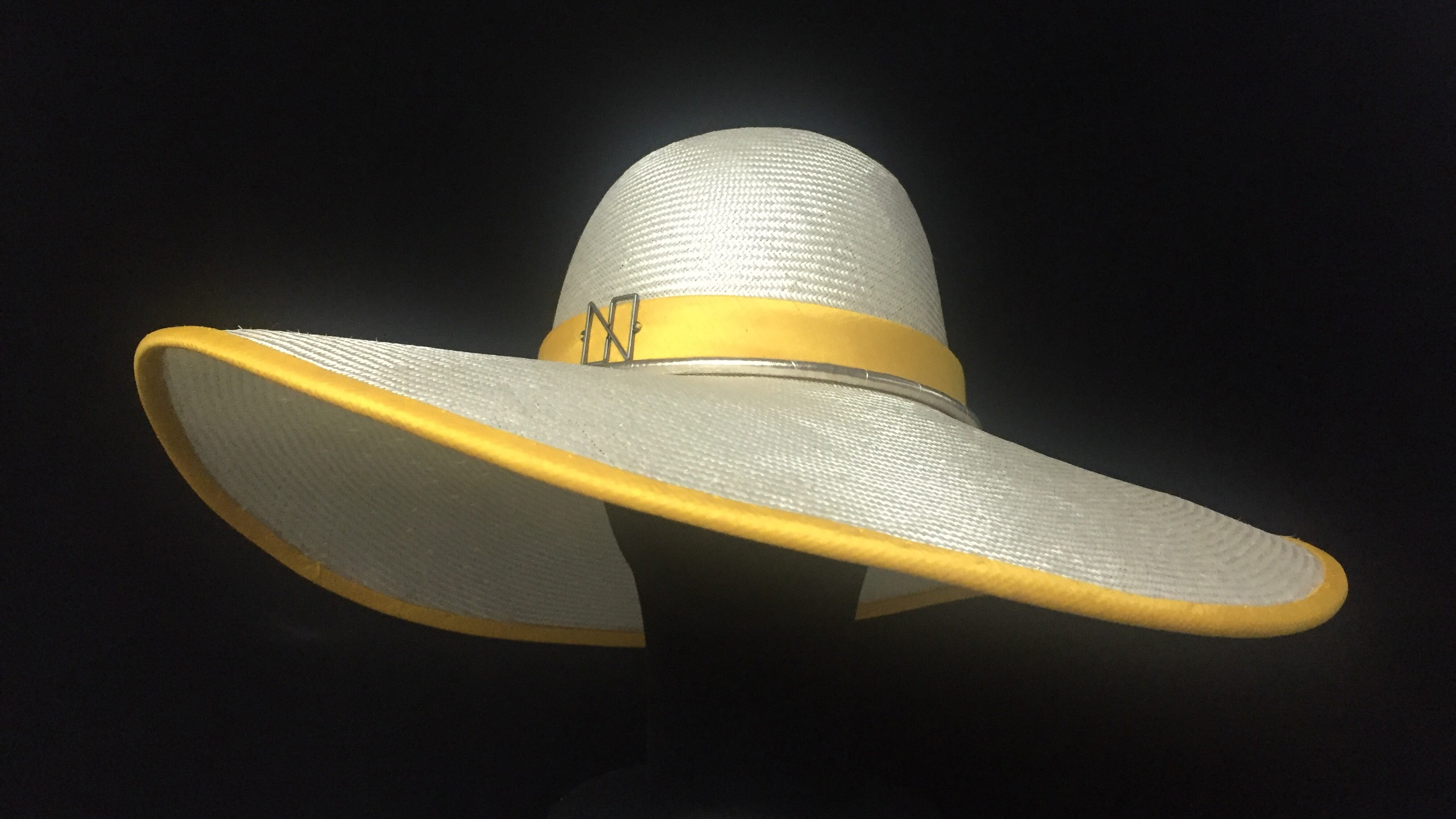 Allure - Wide Brim Designer Straw Hat with yellow trim - NOELEEN MILLINERY HONG KONG
