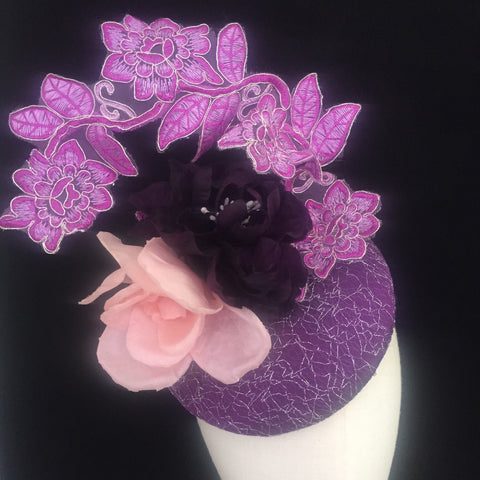 Bellflower - Purple Silk hat with handcrafted silk flowers and lavender lace - NOELEEN MILLINERY HONG KONG