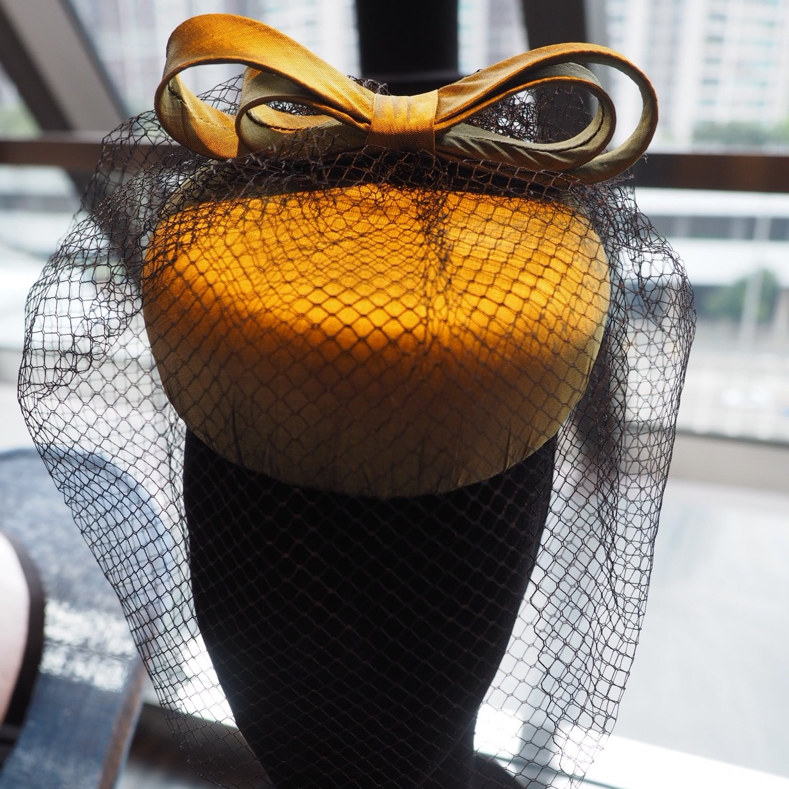 Vintage Vixen - Silk modern pillbox hat with bow and face veil - NOELEEN MILLINERY HONG KONG