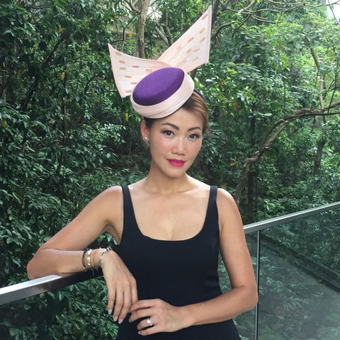 Audrey - Purple and Pink Silk sculptural hat for races or wedding - NOELEEN MILLINERY HONG KONG
