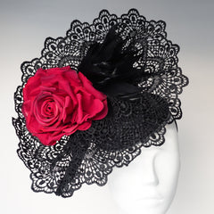 Black and Red Rose Couture Hat, Designer Hat, Horse Racing Hat - Made to Order contact us - NOELEEN MILLINERY HONG KONG