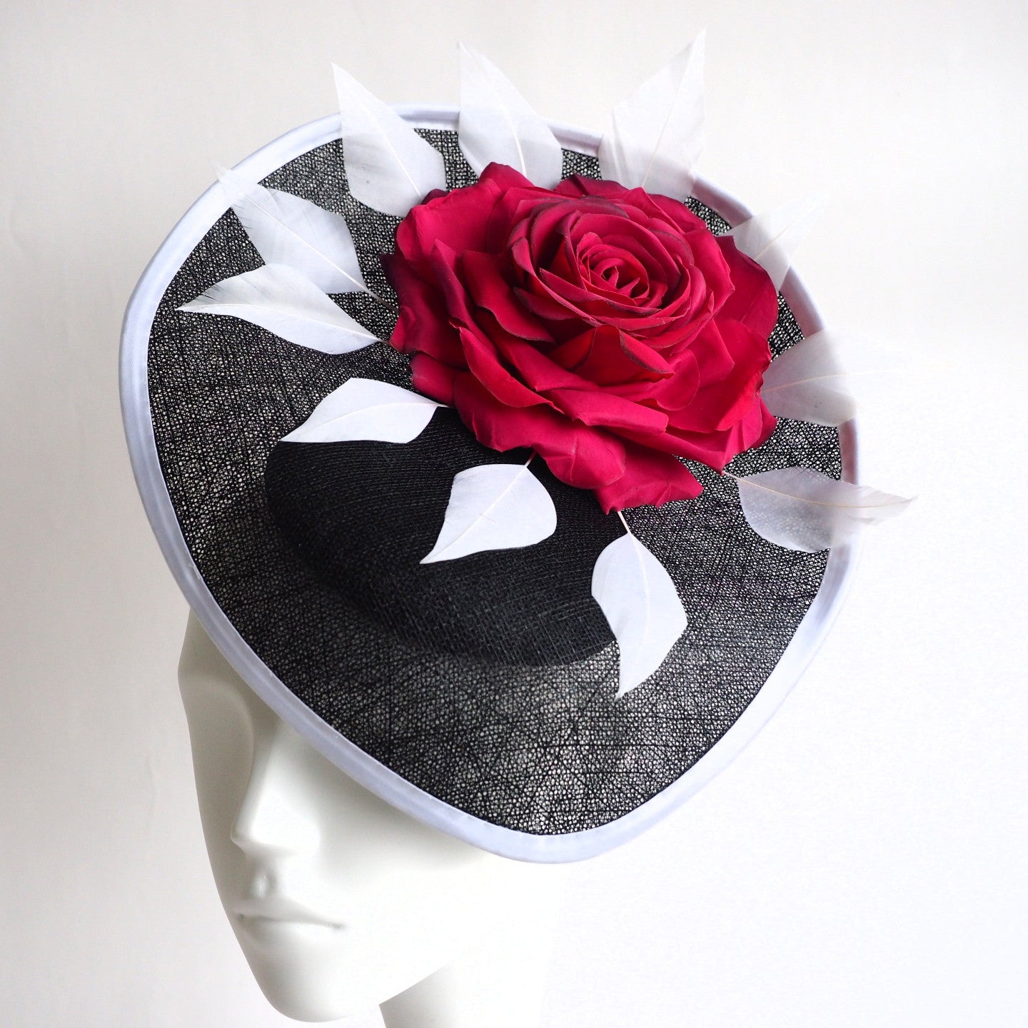 NoNo Style -Made to order in other colours  Dramatic Black White red hat derby style - NOELEEN MILLINERY HONG KONG