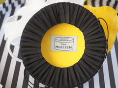 Back white Yellow racing hat - Made to Order contact - available in other colors. - NOELEEN MILLINERY HONG KONG