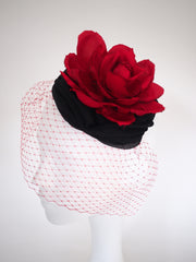 Salon de Ning - Made to Order Red Silk Rose Fascinator with black draped silk chiffon and veil - NOELEEN MILLINERY HONG KONG