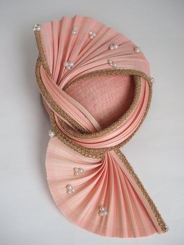 Peaches & Cream - Unique Peach/salmon sculptural hat with Pearl detail - NOELEEN MILLINERY HONG KONG