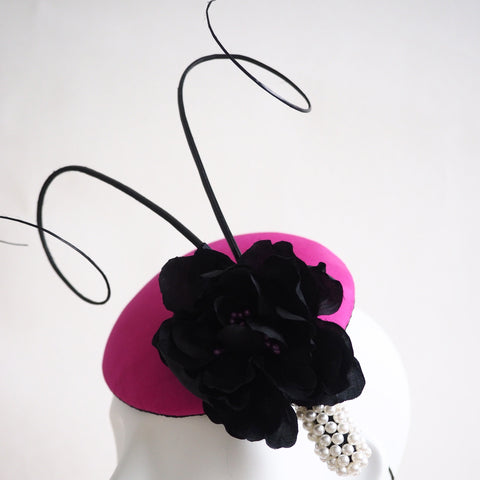 Pearl Silk Rose Cocktail hat - Made to Order in a variety of colours and styles - NOELEEN MILLINERY HONG KONG