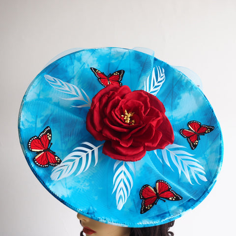 Sky Blue - Large derby style statement hat Made to Order - available in other colours - NOELEEN MILLINERY HONG KONG
