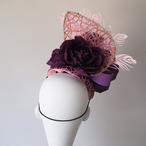 Royal Rose lace silk hat  - Made to order other colours available Contact us for Custom Piece - NOELEEN MILLINERY HONG KONG
