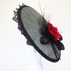 Sasa Rose large saucer hat - Made to Order - Available in other colours - NOELEEN MILLINERY HONG KONG