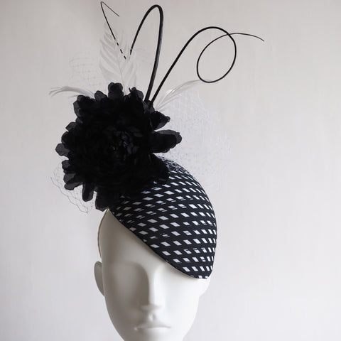 Vanessa - Black white Percher hat made to order in other colours and material - NOELEEN MILLINERY HONG KONG