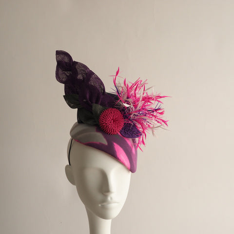 Feather Burst  - Vibrant Calot Pink Purple Cocktail Hat - NOELEEN MILLINERY HONG KONG
