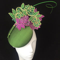 Secret Garden Silk and Lace Designer Hat - Made to Order in other colours - contact us - NOELEEN MILLINERY HONG KONG