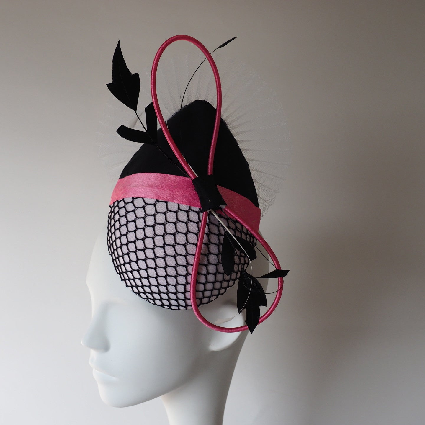 Parisienne Girl - Chic Elegant Percher style Hat for races - Made to Order in other Colours - NOELEEN MILLINERY HONG KONG