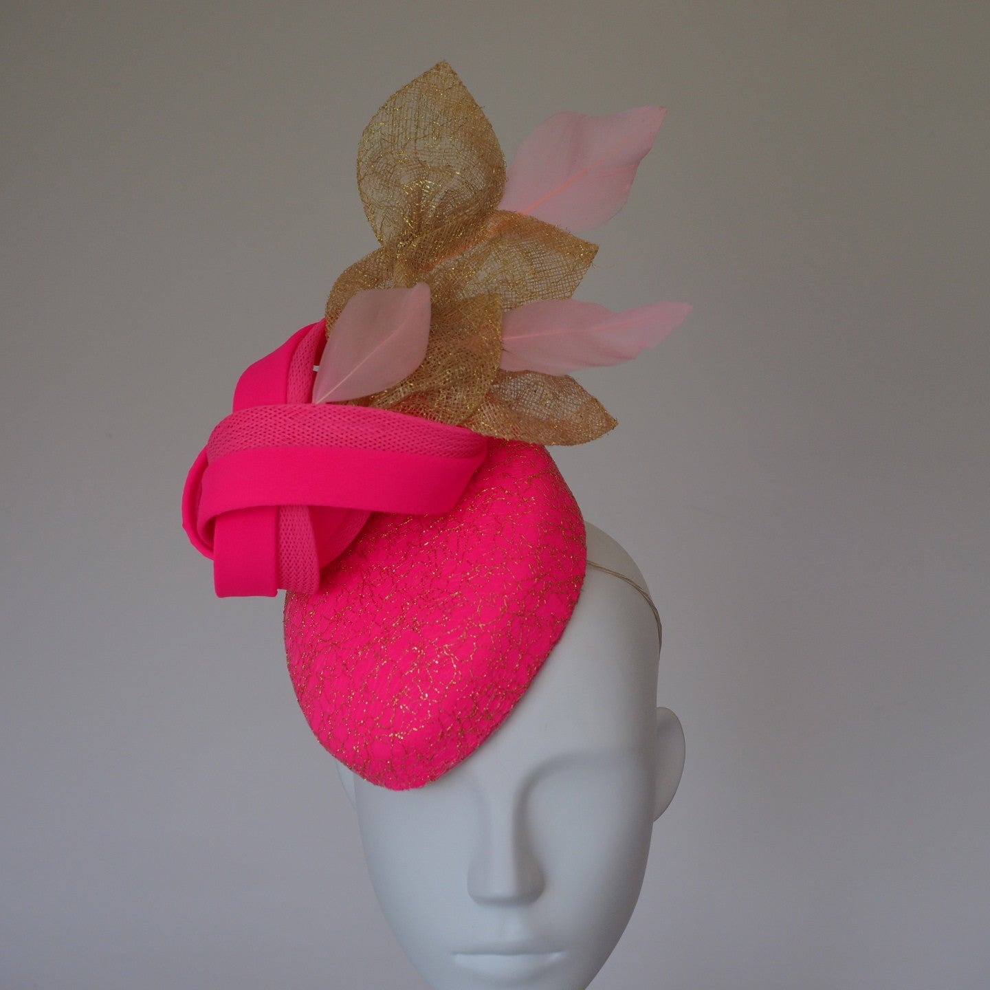 Passion for Pink - Fluro Pink Cap special occasion hats can  be made in other colours - NOELEEN MILLINERY HONG KONG