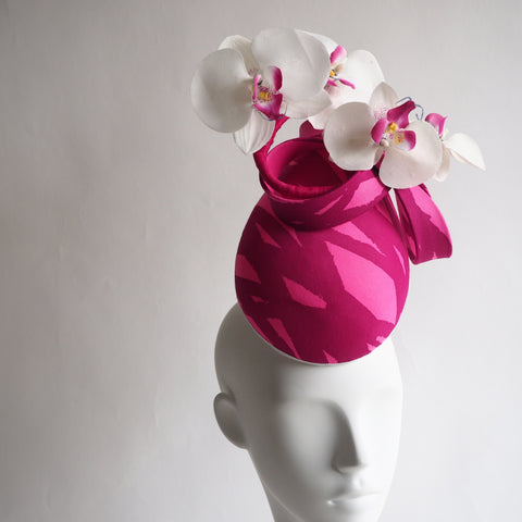 Pink for Winks - Percher Hat can be recreated in other colours and trims - NOELEEN MILLINERY HONG KONG