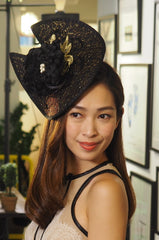 Lilly Dache - Gold/Black Asymmetrical Headpiece - Made to order in other colours - NOELEEN MILLINERY HONG KONG