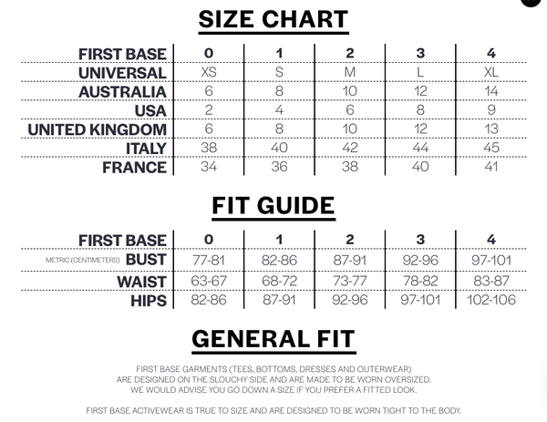 First base size guide
