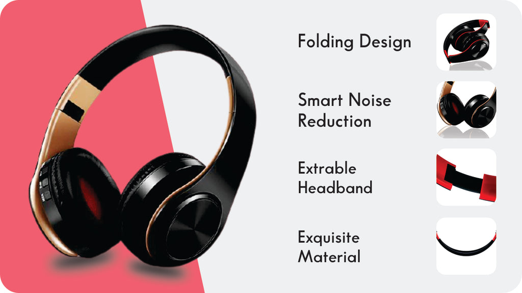 Bluetooth headphone music headset FM and support SD card with Mic