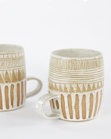 Striped white ceramic mug