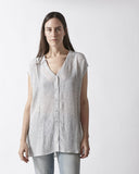Silk Button Down Tunic - Grey Print
