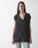 Silk Button Down Tunic - Black