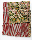 VINTAGE KANTHA QUILT THROW - RED