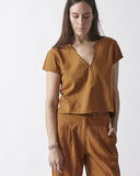 V-NECK TOP - RUST