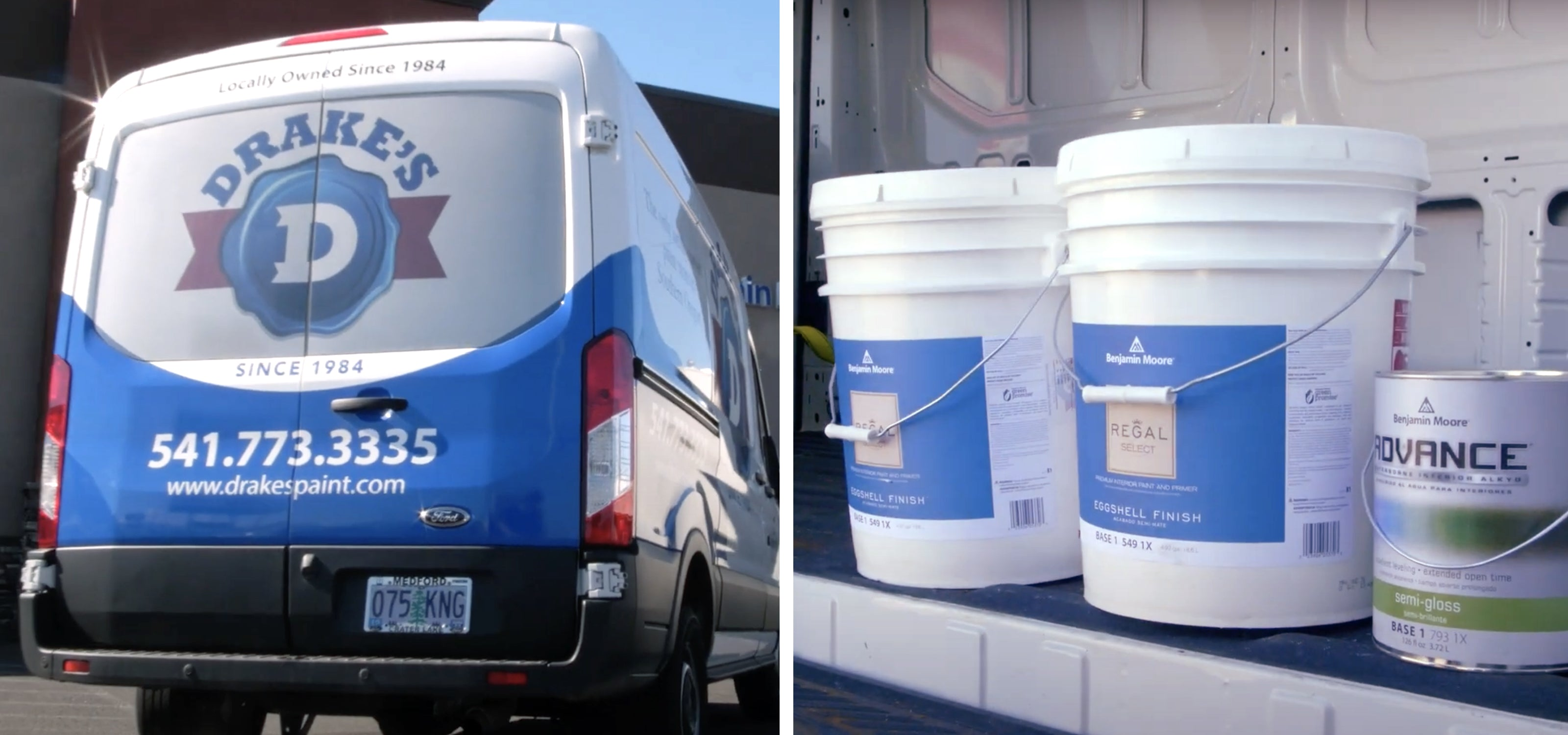 Drake's own delivery van with one gallon and 5 gallon products