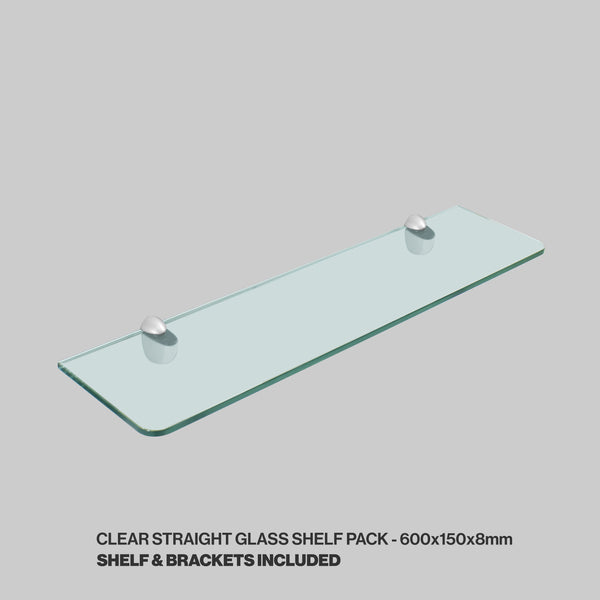 Tempered Glass Shelf and Silver Jam Brackets - Straight - 600x150x8mm