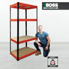 1600x750x350mm 175kg UDL 4x Tier Freestanding RB Boss Unit with Red & Black Powdercoated Steel Frame & MDF Shelves