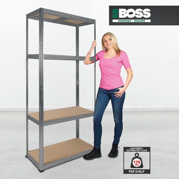 1600x750x350mm 175kg UDL 4x Tier Freestanding RB Boss Unit with Galvanised Steel Frame & MDF Shelves