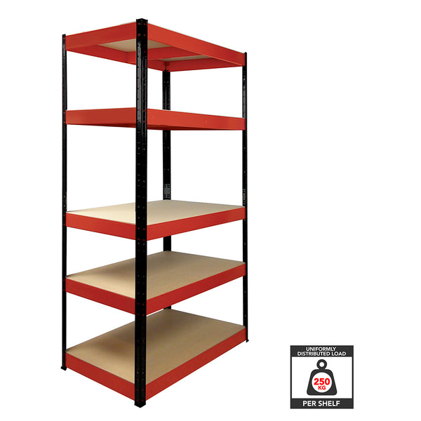 1800x900x400mm 250kg UDL 5x Tier Freestanding RB Boss Unit with Red & Black Powdercoated Steel Frame & MDF Shelves