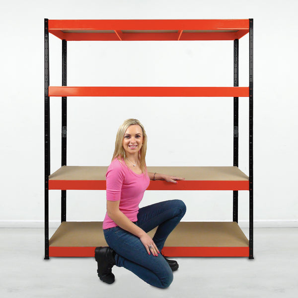 1800x1600x600mm 300kg UDL 4x Tier Freestanding RB Boss Unit with Red & Black Powdercoated Steel Frame & MDF Shelves