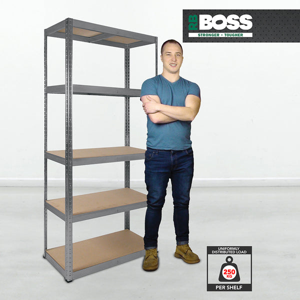 1800x900x300mm 250kg UDL 5x Tier Freestanding RB Boss Unit with Galvanised Steel Frame & MDF Shelves