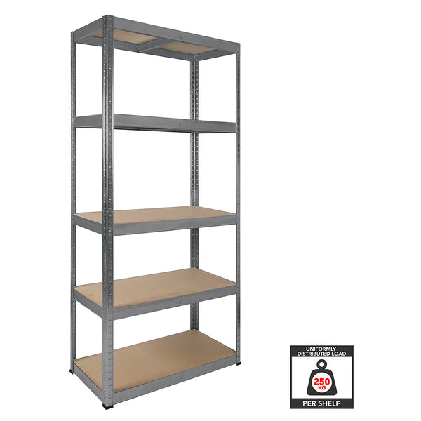 1800x900x400mm 250kg UDL 5x Tier Freestanding RB Boss Unit with Galvanised Steel Frame & MDF Shelves