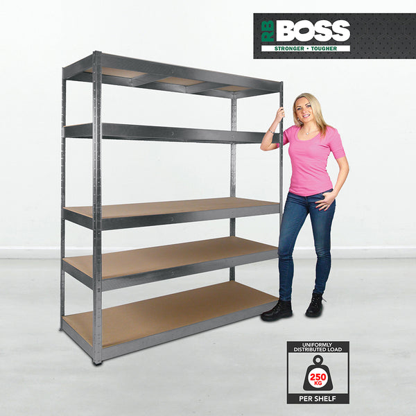 1800x1600x600mm 250kg UDL 5x Tier Freestanding RB Boss Unit with Galvanised Steel Frame & MDF Shelves