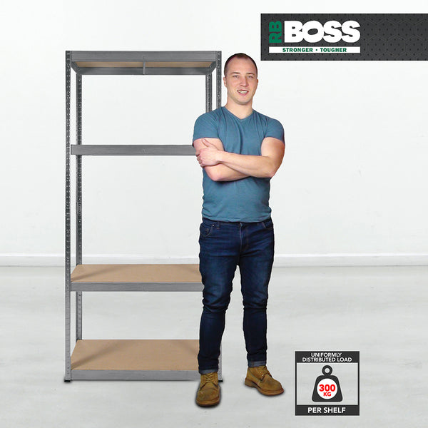 1800x900x400mm 300kg UDL 4x Tier Freestanding RB Boss Unit with Galvanised Steel Frame & MDF Shelves