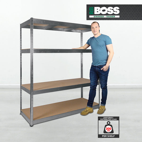 1800x1600x600mm 300kg UDL 4x Tier Freestanding RB Boss Unit with Galvanised Steel Frame & MDF Shelves