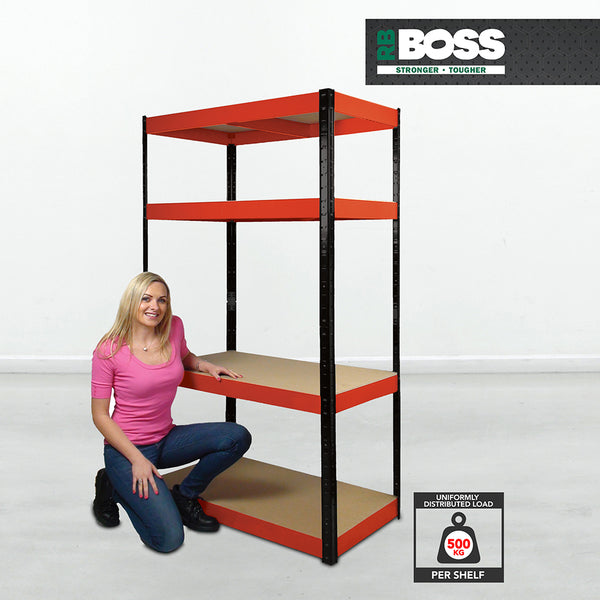 1800x900x300mm 500kg UDL 4x Tier Freestanding RB Boss Unit with Red & Black Powdercoated Steel Frame & MDF Shelves