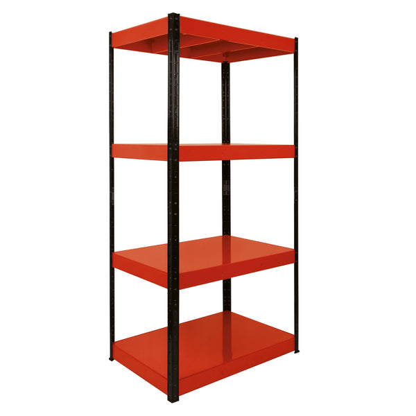 1800x900x300mm 400kg UDL 4x Tier Freestanding RB Boss Unit with Red & Black Powdercoated Steel Frame & Steel Shelves