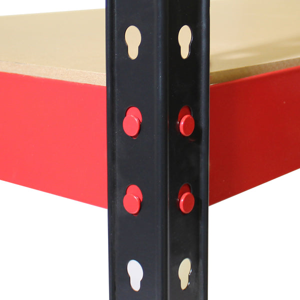 1600x750x350mm 175kg UDL 4x Tier Freestanding FastLok RB Boss Unit with Red & Black Powdercoated Steel Frame & MDF Shelves