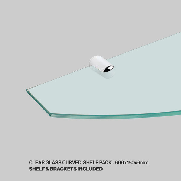 Tempered Glass Shelf and Brackets - Curved - 600x150x6mm