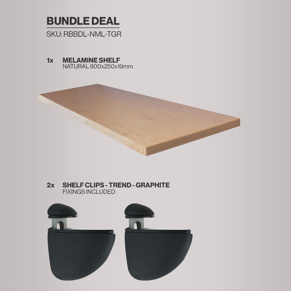 Melamine Shelf and Clips - Natural Wood Effect - Bundles